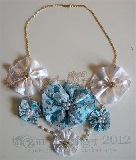 Fabric Handmade Flowers - handmade fabric flower necklace in blue by sunflowerb on