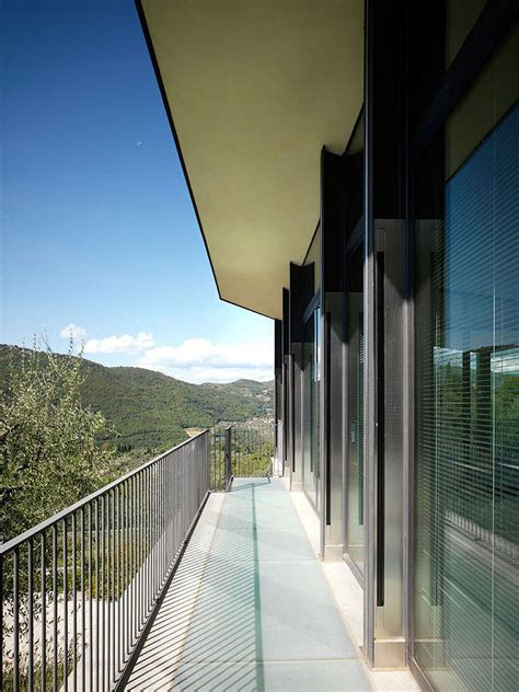 Kitchen And Living Room Design balcony glass walls modern home in prato italy