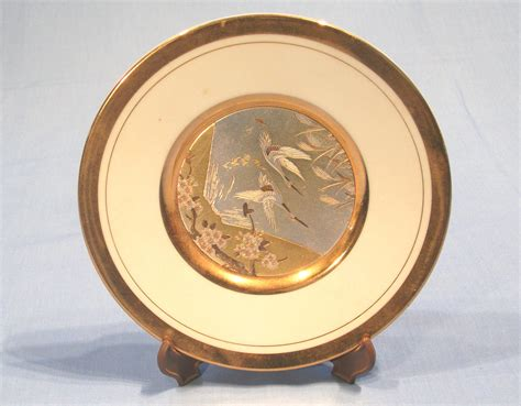 How To Decorate A Display Cabinet Japanese Chokin Ornamental Plate White Collectable China