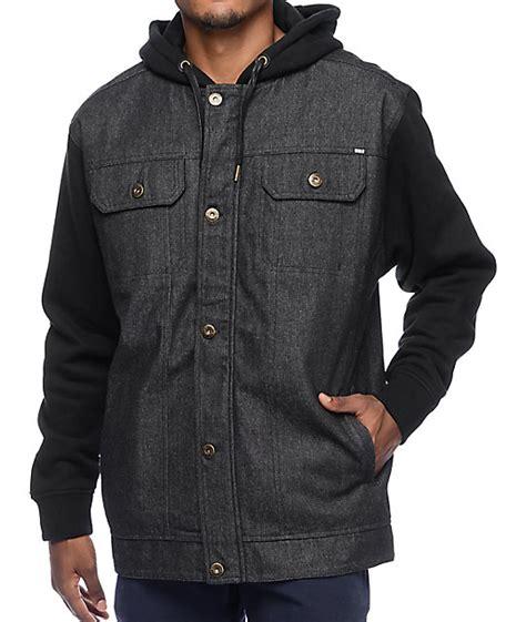 Hooded Denim Vest rebel8 faction black denim vest hooded jacket