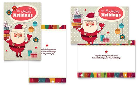 free santa card templates retro santa greeting card template design
