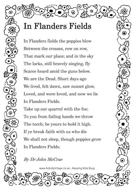 printable version of flanders fields in flanders fields