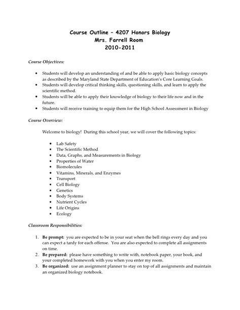 Science 14 Course Outline by Course Outline Honors Bio 10 11