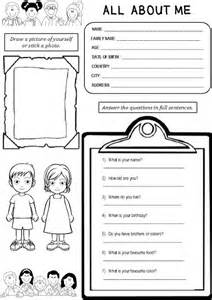 Enjoy teaching english all about me worksheet