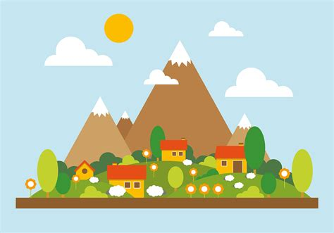 Landscape Vector Mountain Landscape Vector Illustration Free