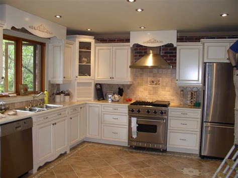 Painting Wood Cabinets by Kitchen Painted Wood Kitchen Cabinets With Tile Floor