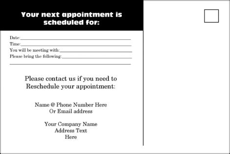 appointment reminder card template 9 best images of reminder card templates printable