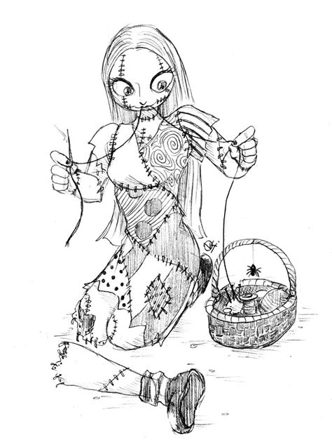 Sewing Sally By Fellow Traveller On Deviantart Nightmare Before Coloring Pages For Adults