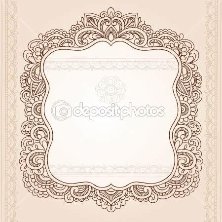 doodle deco picture holder vintage henna paisley flower frame doodle vector border