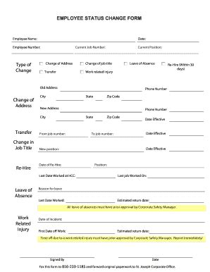 Free Employee Status Change Form Template Fill Print Download Online Resume Sles Free Employee Status Change Form Template