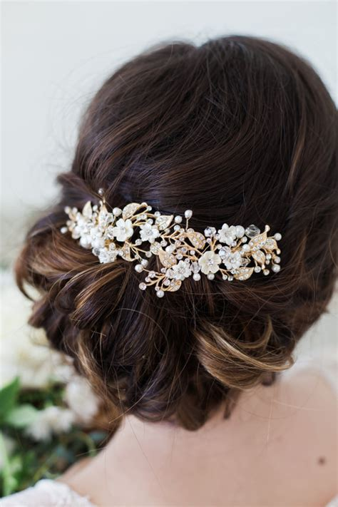 5 Bridal Hair Accessories To by Wedding Hair Accessories Gold Flower Headpiece Ivory Flower