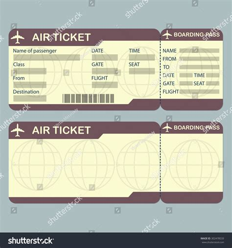 Airline Boarding Pass Ticket Template Detailed Stock Vector 302478533 Shutterstock Airplane Ticket Template