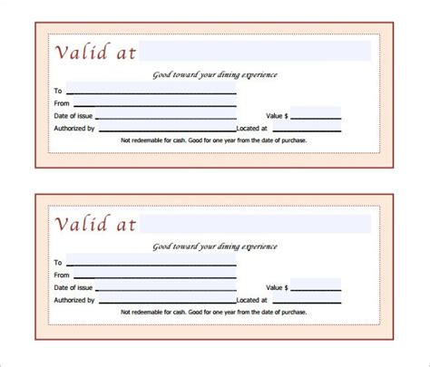 printable gift certificates for restaurants gift certificate template 42 exles in pdf word in