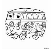 Раскраска Забавный автобус Филмор  Раскраски Тачки и 2
