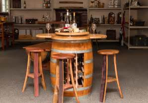 wine barrel table set with wine rack base