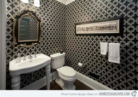 Black And White Bathroom Designs Black And White Wallpaper In 15 Bathrooms And Powder Rooms