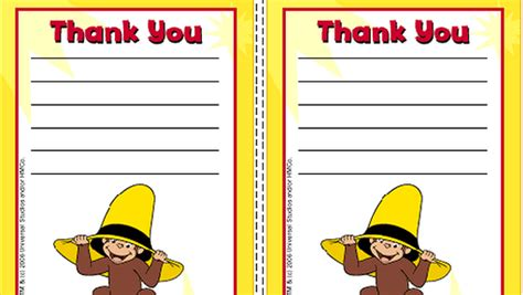 printable thank you cards for parents curious george thank you cards birthday party pbs