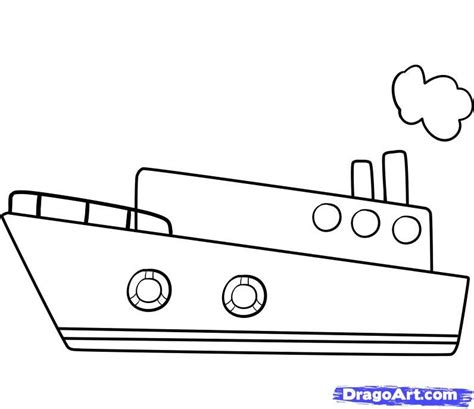 simple boat drawing draw a ship step by step boats - How To Draw A Cargo Boat