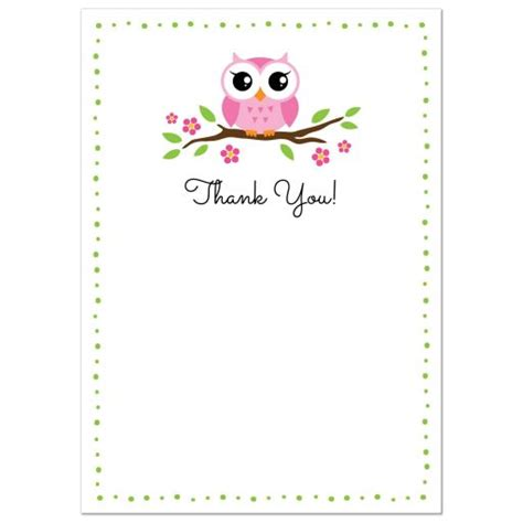 note card template with borders pink owl on flowering branch flat thank you note card