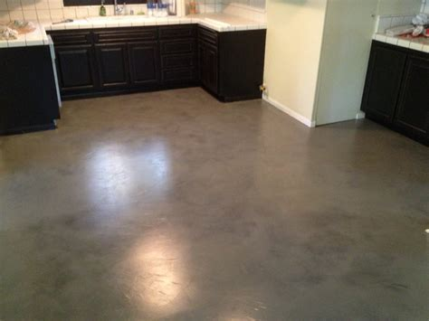 How To Finish Concrete Floors Interior by Interior Concrete Floor Overlay Black With Grey Stain Yelp