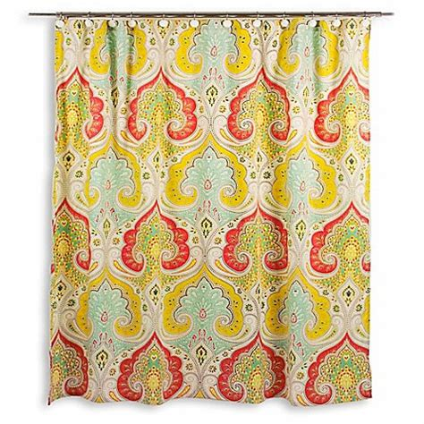 echo jaipur shower curtain echo design jaipur fabric shower curtain bed bath beyond
