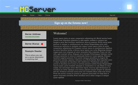 Html Css Minecraft Themed Template Minecraft Website Template