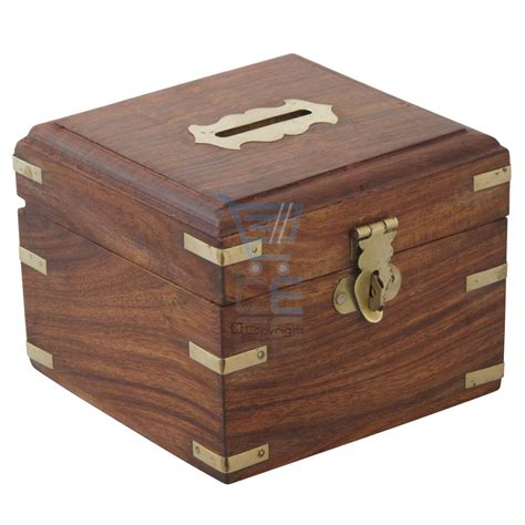 Handmade Money Boxes - wooden money box with brass corners handmade treasure