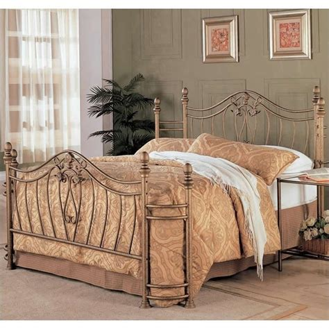 queen iron bed coaster singleton queen iron bed in antique brushed gold