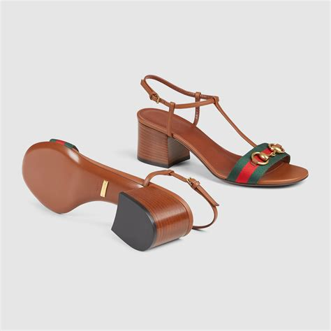 Sandal Hells Gucci 338 lyst gucci leather mid heel sandal in brown