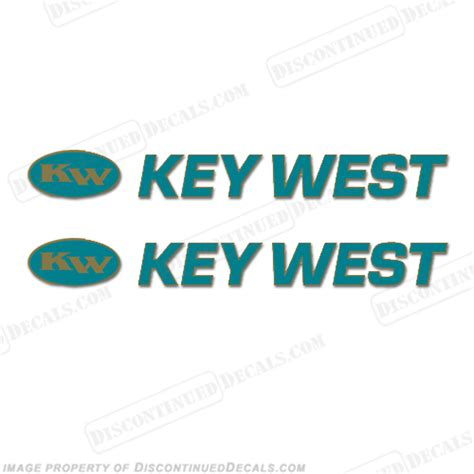 key west boat decals set of 2 teal gold - Key West Boats Decal