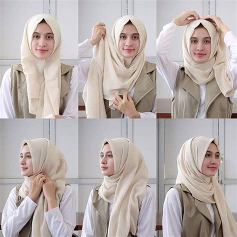 tutorial hijab pashmina monochrome simple 10 tutorial hijab pashmina simple terbaru 2017