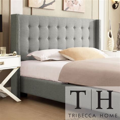 queen anne headboard inspire q marion grey linen nailhead wingback platform bed