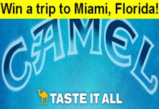 Camel Com Sweepstakes - camel win a trip for 2 to miami florida valued at 64 500 and giveawayus com