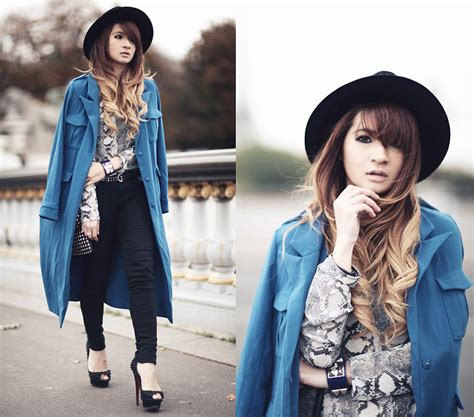 blogger fashion indonesia anastasia siantar snakeskin shirt blue trench coat
