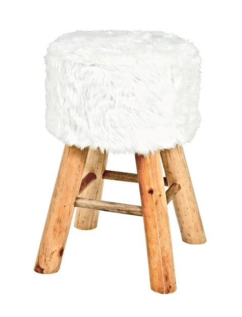 Fluffy Stool by Retro Fluffy White Foot Stool 30363