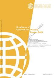 design and build conditions of contract conditions of contract for plant and design build for