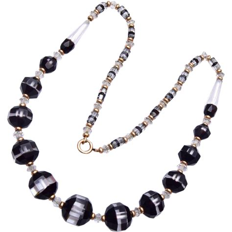 gorgeous givre black and clear glass beaded necklace