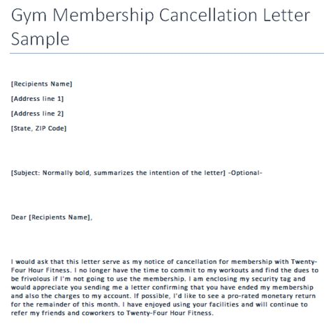cancellation letter for fitness cancellation letter writing professional letters