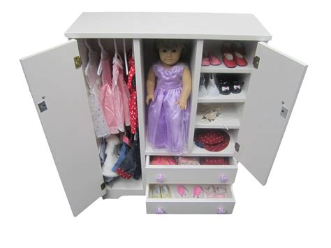 Wardrobe For Dolls by Doll Wardrobe Armoire Fits 18 Quot Doll Furniture Storage Closet Solid Wood Ebay