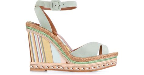 Erotokritos Blue And White Stripe Wedge by Valentino Suede Striped Wedges In Blue Lyst