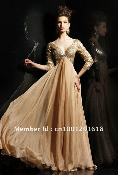 Gold Floor Length Dress by Ob009 Sleeves V Neck Sequin Floor Length Gold Evening