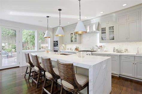 Kitchen Island With Granite Top And Breakfast Bar White Carrera Marble For The Kitchen And Bathroom