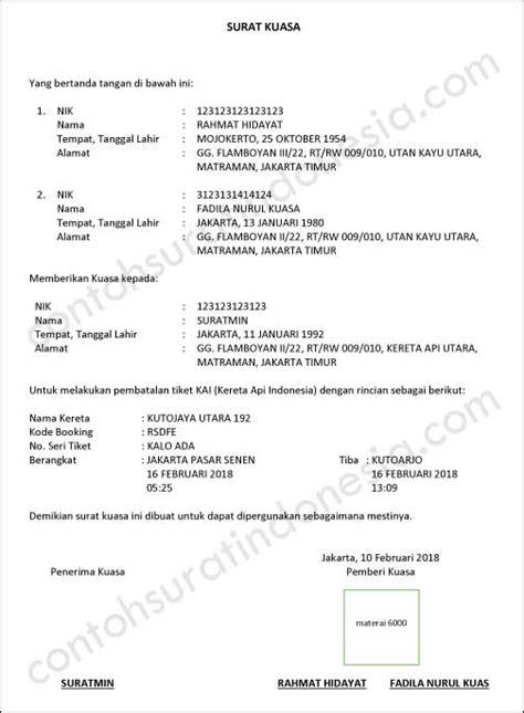 format surat kuasa pajak kendaraan contoh surat bahasa indonesia lengkap referensi surat anda