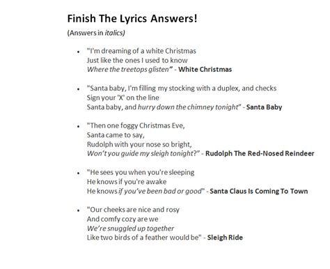 printable christmas lyrics quiz christmas song trivia game do you know your christmas
