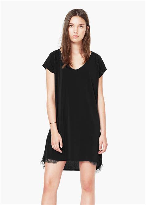 siyah kisa mini 2015 elbise modeli kadinlive com mango dantel detalylı mini şık siyah elbise modeli