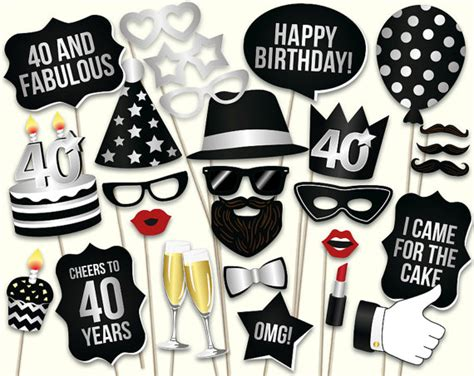 free printable photo booth props 40th birthday 40th birthday photo booth props printable pdf by hatacrobat
