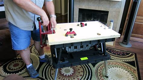 portable reloading bench portable reloading bench using a keter folding work table youtube