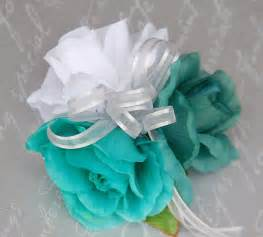 teal corsage teal white wrist corsage wedding bridal prom ebay