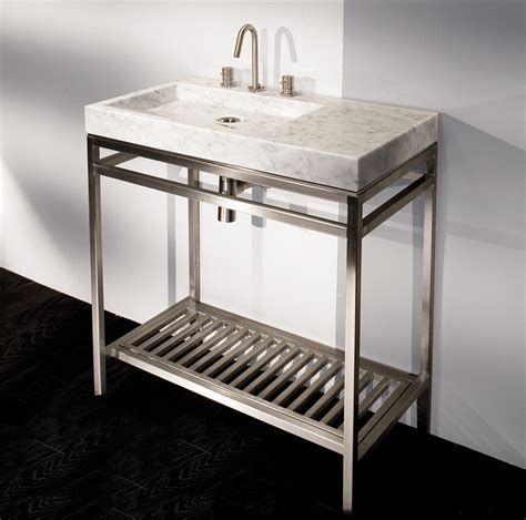 Free Standing Bathroom Sink Vanity 32 Quot Lacava Stainless Console Amp Stone Sink Bathroom