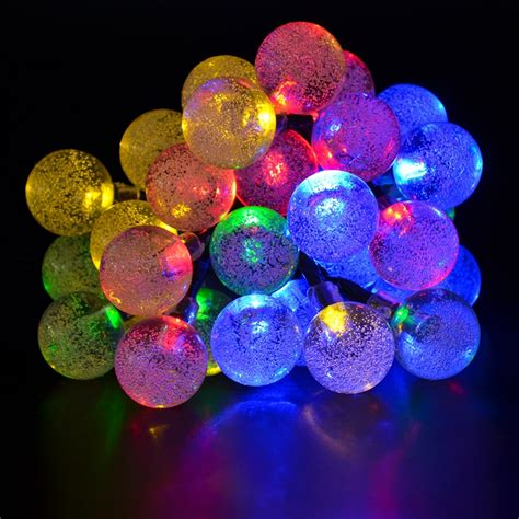 Colorful Solar Led Bubble Christmas String Lights Outdoor Colorful String Lights